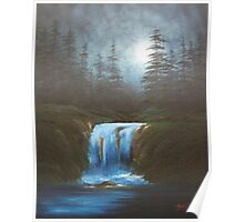 Moonlight Waterfall Poster