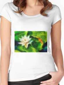 Water Lily and Leaves Women's Fitted Scoop T-Shirt