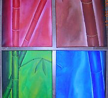 4 Panel Bamboo, Acrylic on canvas by boocifer