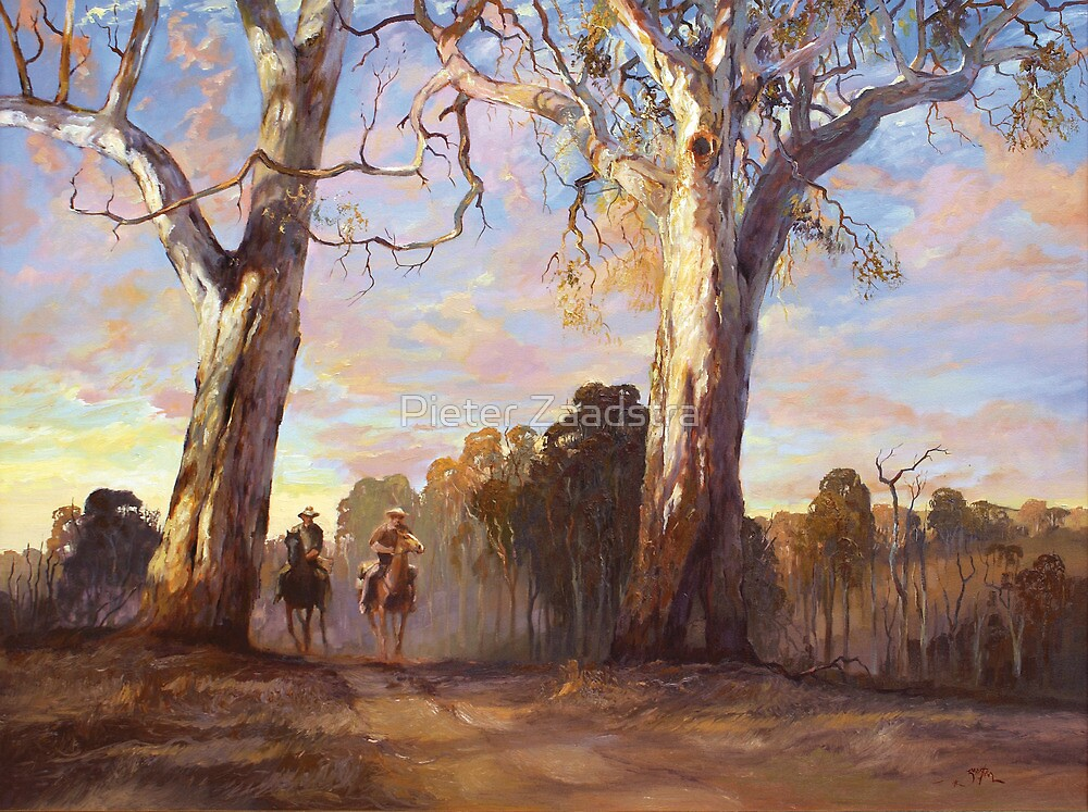 Riders in the Red Gums - after Hans Heysen by Tanya Zaadstra
