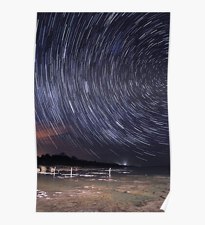 Star Trails Over Lake Clifton  Poster