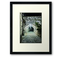 Arcade in the Medieval Streets of an old Italian Village at Night Framed Print