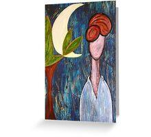 Mademoiselle e la luna - Mademoiselle and the moon Greeting Card