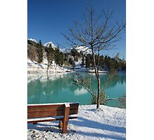 Lakeside Bench in Snow  Photographic Print
