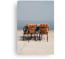 Chairs and Table at Seafront  Canvas Print