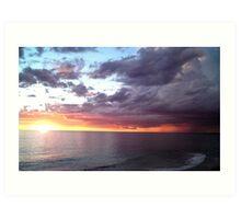 Sunset + Storm + Lightning Art Print