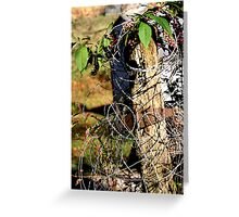 barbed wire post Greeting Card