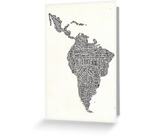 lettering map of Latin America 2015 Greeting Card