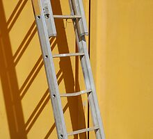Ladder Against Yellow Wall by jojobob