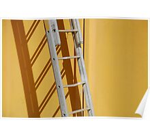 Ladder Against Yellow Wall Poster