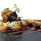 black pudding, bacon and quails eggs by jon  daly