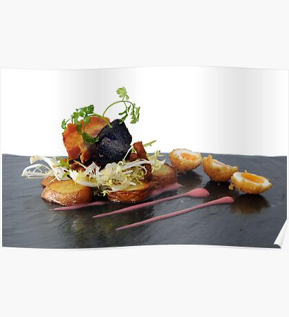black pudding, bacon and quails eggs Poster