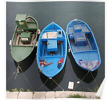 Three Wooden Fishing Boats  Poster