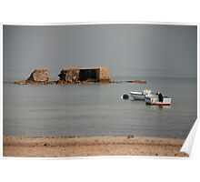 Crumbling Sea Wall with Two Boats  Poster