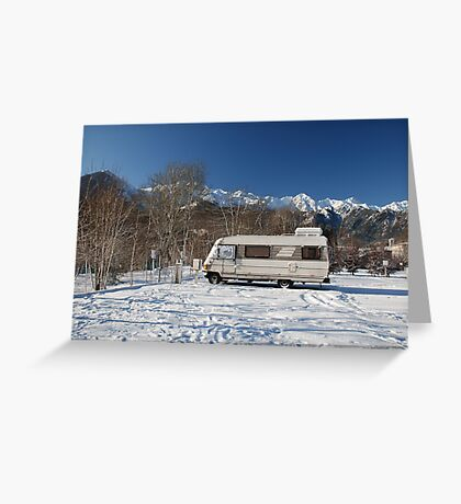 A-Class Motorhome in Snow  Greeting Card