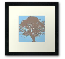 Oak Tree - Pastel blue Framed Print