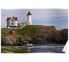 Sit and Enjoy the Beauty of Nubble Lighthouse Poster