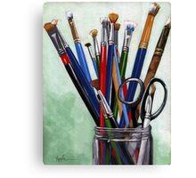 Artist Brushes - original still life painting Canvas Print