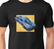 1963 Corvette Stingray Split Window Blue on Yellow Unisex T-Shirt