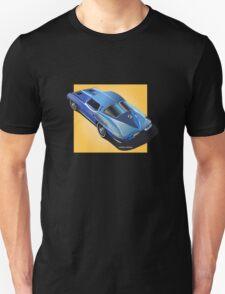 1963 Corvette Stingray Split Window Blue on Yellow T-Shirt