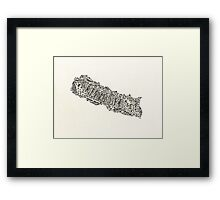 Lettering map of Nepal Framed Print