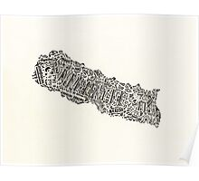 Lettering map of Nepal Poster