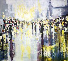 Artificial Lights, abstract city street landscape by ZlatkoMusicArt