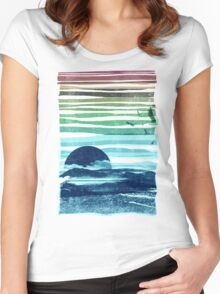sea landscape Women's Fitted Scoop T-Shirt