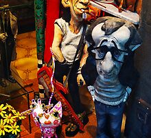 Woody Allen and Keith Richards in Papier Mache by Carlos Lorenzo