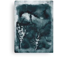 Cloudy Landscape Blue Green Canvas Print