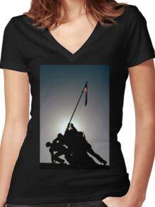 ~Iwo Jima Memorial~ Women's Fitted V-Neck T-Shirt