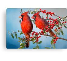 Red Birds and Red Berries Canvas Print