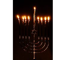 Lit Menorah Photographic Print