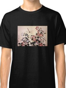 'Chinese Bell Flower and Dragonfly' by Katsushika Hokusai (Reproduction) Classic T-Shirt