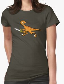 Chainsaw Dinosaur Womens Fitted T-Shirt