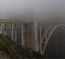 Bixby Bridge in the fog by SacPhoto