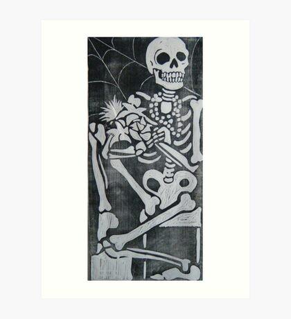 skeleton wood cut Art Print