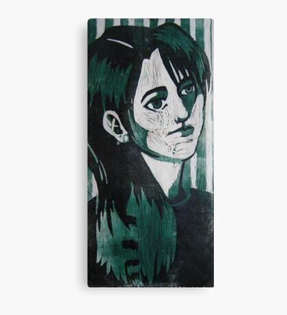 Self Portrait Woodcut Canvas Print