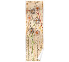 Paper Daises on gold paper with cotton stitching Poster