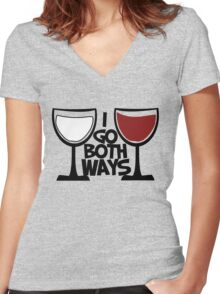 Red wine and white wine drinker Women's Fitted V-Neck T-Shirt
