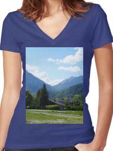 an inspiring Indonesia landscape Women's Fitted V-Neck T-Shirt