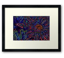 Abstract Blue and Red Daisies Framed Print