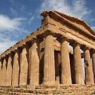 Sicilian blue sky temple dreaming by Christine Oakley