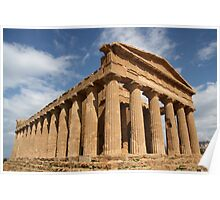 Sicilian blue sky temple dreaming Poster