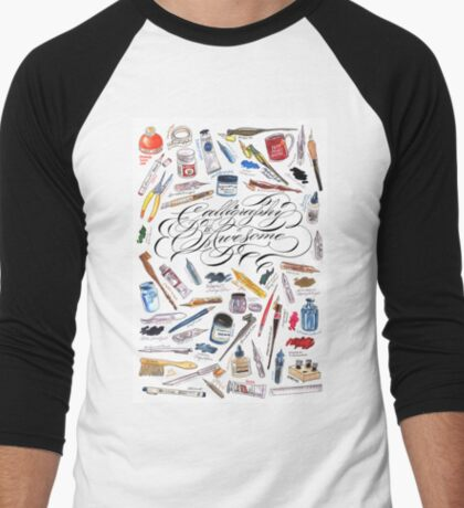 Calligraphy Is Awesome! Men's Baseball ¾ T-Shirt