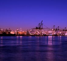 Sunset in Hamburg Harbour by Nugrahini Tj.