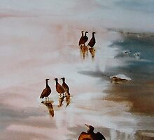 On the Beach Watercolour Painting by Shirlroma