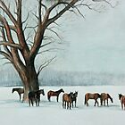 Horses in the Snow by Charlotte Yealey