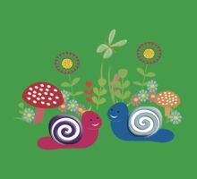 Kids Cute Fantasy Fairytale Snail Garden One Piece - Short Sleeve
