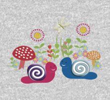 Kids Cute Fantasy Fairytale Snail Garden One Piece - Long Sleeve
